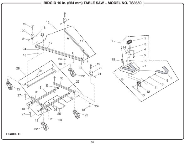 Ridgid Ts3650 10 254mm Table Saw Parts And Accessories