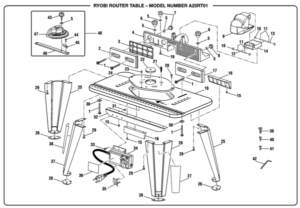 Ryobi a25rt01 router table parts and accessories partswarehouse ryobi a25rt01 keyboard keysfo Image collections