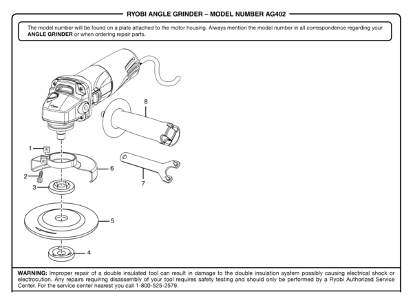 Ryobi Ag402 Angle Grinder Parts And Accessories