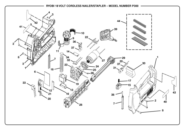 electric stapler assembly diagram