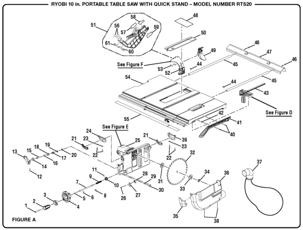 Ryobi Rts20 10 Quot Portable Table Saw Parts And Accessories