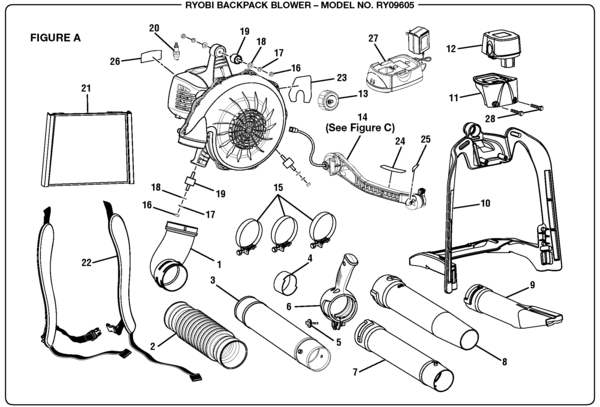 Ryobi Ry09605 Backpack Blower Parts And Accessories