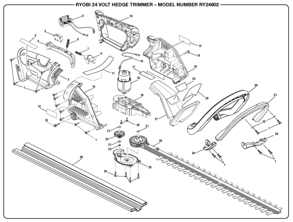 ryobi ry24602 hedge trimmer parts and accessories