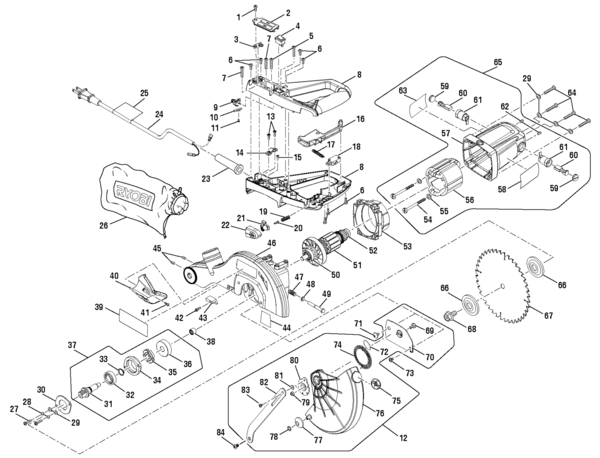 Ryobi Ts1142l 7 14 Compound Miter Saw Parts And Accessories