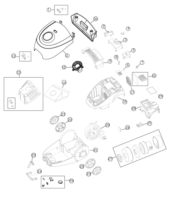 Simplicity Snap 4 Canister Vacuum Parts