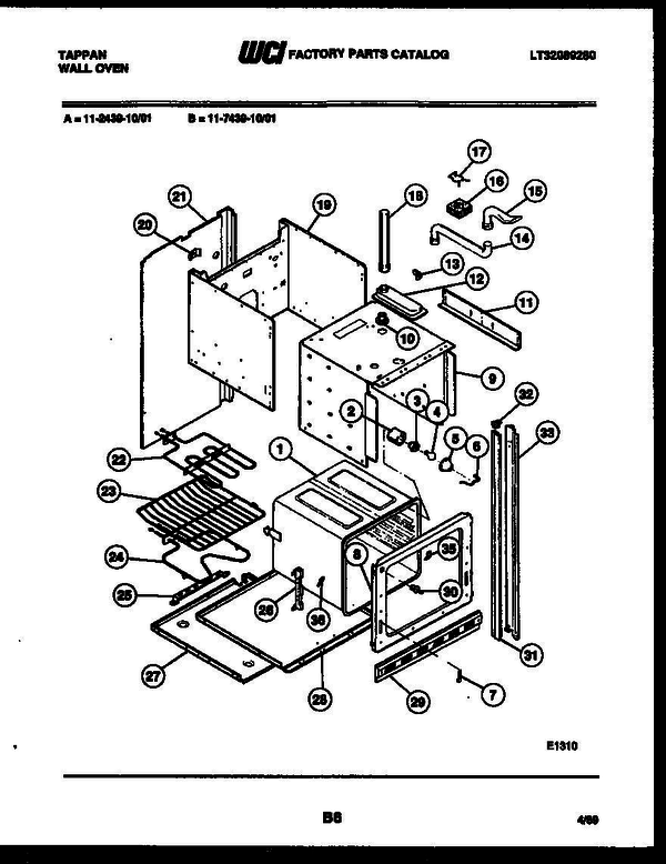 Tappan 11 2439 00 01 Electric Wall Oven Lt32089280 Parts