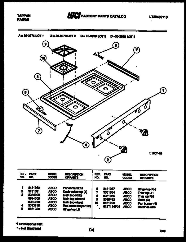 Tappan 30 3978 66 01 Gas Range Lt32489110 Parts And