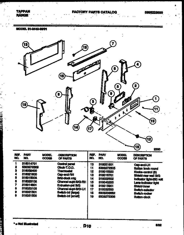 Tappan 31 2442 00 01 Electric Range 5995223699 Parts And