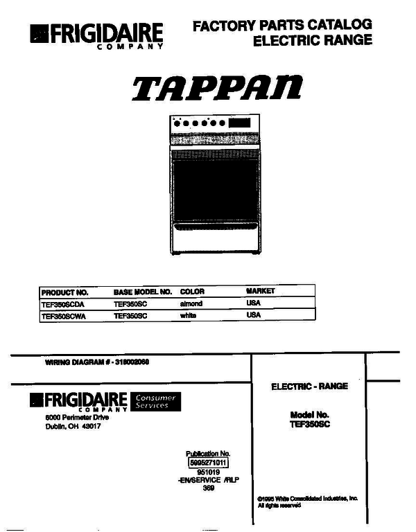 Tappan TEF350SCDA Electric Range Parts And Accessories At