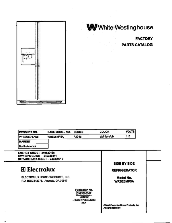 White-Westinghouse WRS26MF5AS8