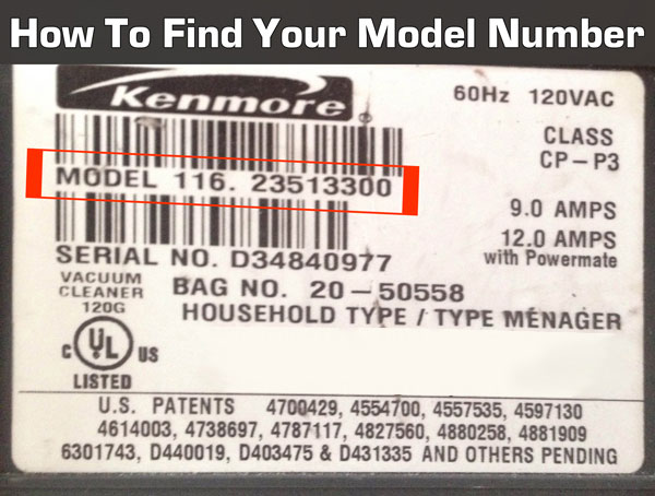 How to find your Kenmore model number. It's located on the back or bottom of your machine.