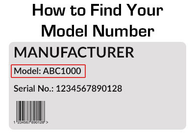 How to find your Echo model number. It's located on the back or bottom of your machine.