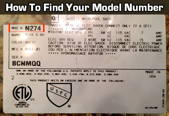 How to find your jacuzzi model number. It's located on the back or bottom of your vacuum or steam cleaner.