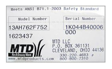 How to find your MTD model number. It's located on the back or bottom of your machine.